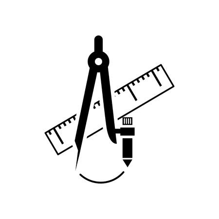 compas de dibujo: Regla y dibujo icono de br�jula