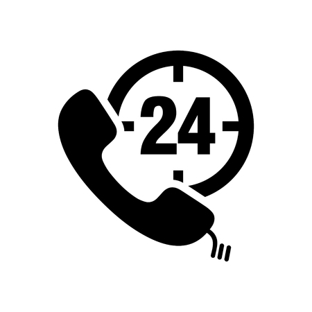 24: 24h Call center icon Illustration