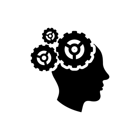 head icon: gear brain icon Illustration