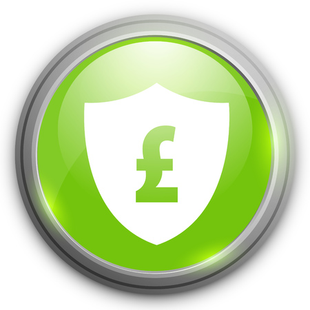 pound sign: Pound sign with Shield icon. Protection emblem. GBP currency