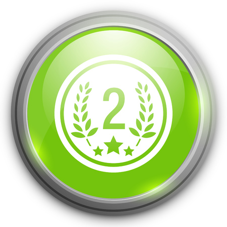second prize: Second place award icon. Prize for winner button.