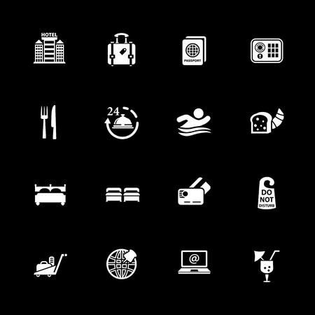 Hotel icons set vector illustration.
