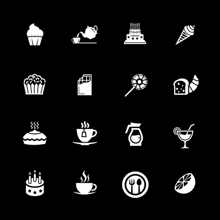 Cafe, sweet, baked, desserts and coffee icons set illustration on black background. Illustration