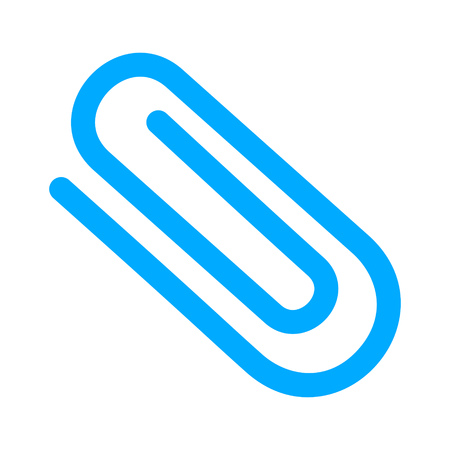 Blue paper clip sign on a white background