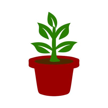 Potted plant icon on a white background Ilustração