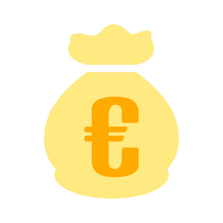 Euro money bag - currency symbol, investment icon - banking sign, banking cash. Vectores
