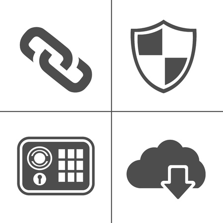 Information technology security icons. IT security icons set - safety protection sign and symbols