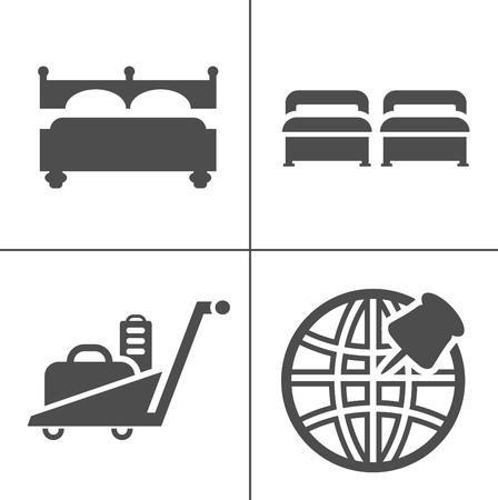 Hotel icons - Traveling, tourism, vacation icons set. Flat style design. Vector illustration