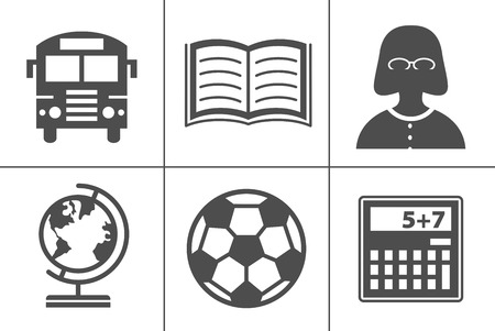 vector school education icons, university graduation icons, learning diploma