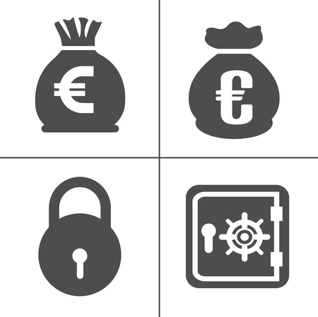 Bank and finance icons set, money icons, vector investment icon Ilustracja