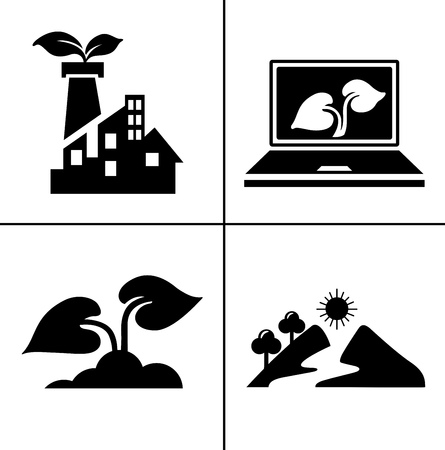 Energy And Ecology Icons, Nature icons set - environment ecology element - eco plant sign and symbols Illustration