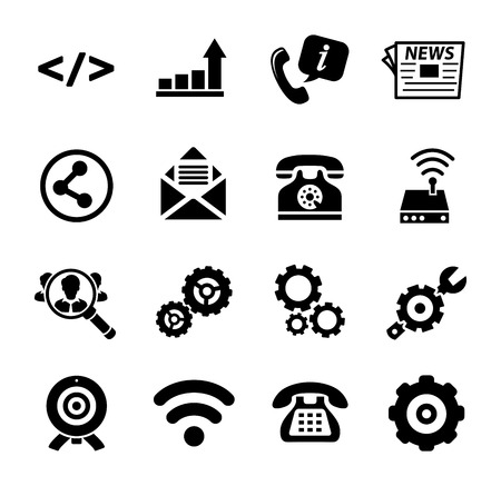 vector communication icons - computer network symbol - internet media connection