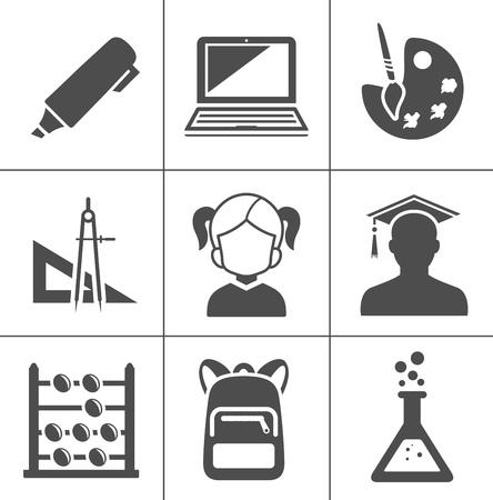 icônes d'éducation scolaire vectorielles, icônes d'obtention du diplôme universitaire, diplôme d'apprentissage Vecteurs