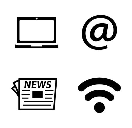 vector social media illustrations - communication Icons, information sign and symbol Çizim