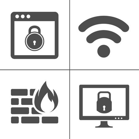 Information technology security icons. IT security icons set - safety protection sign and symbols Zdjęcie Seryjne - 127223677