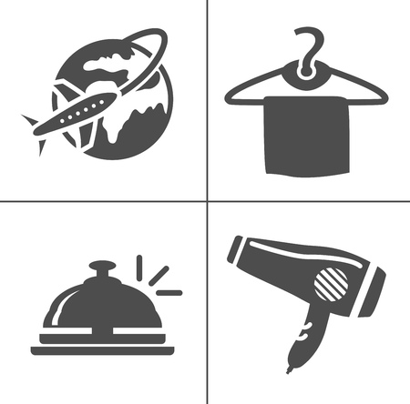 vector travel icons, vacation and tourism icons, hotel icons