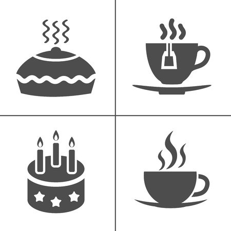 Cafe and confectionery icon set. Sweet baked goods, desserts and coffee.