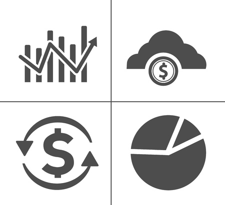investment icons, business management icons, finance and strategy icons. money banking sign and symbols Illustration
