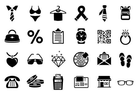 shopping fashion icons set. Universal icons to be used in web and mobile UI, fashion basic UI elements set Ilustracja