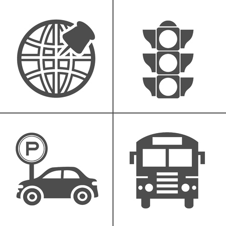 vector Map signs , location target symbol, navigation and transportation icons set - road and traffic signs