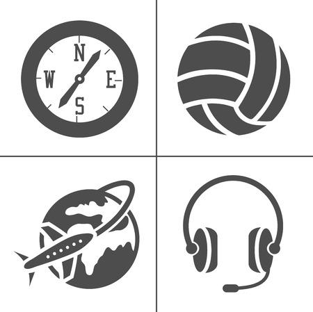 vector Entertainment icons set - multimedia, cinema, music sign symbol Ilustracja