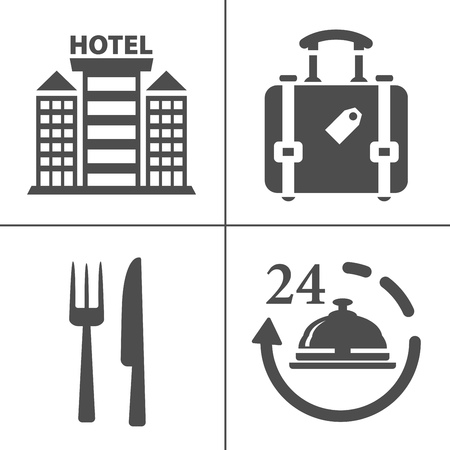 Hotel icons - Traveling, tourism, vacation icons set. Flat style design. Vector illustration