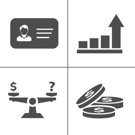 vector business office icons set - computer illustrations - phone sign and symbols Çizim