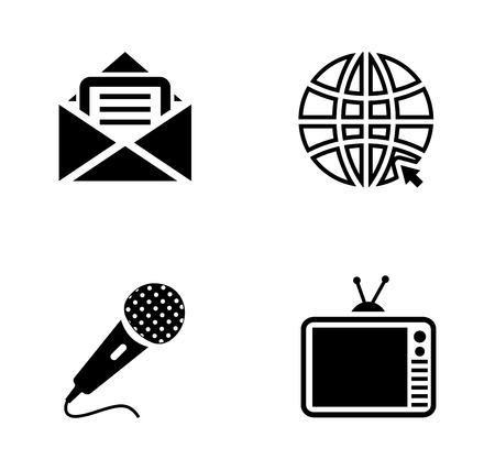 vector social media illustrations - communication Icons, information sign and symbol Illustration
