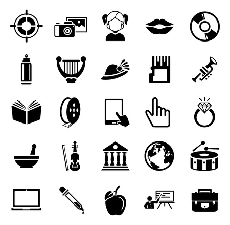 vector art icons. graphic design concept - drawing and painting tools, illustrations sign symbols Иллюстрация