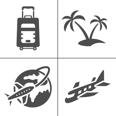 Simple travel icons set. Universal travel icons to use for web and mobile UI, set of basic UI travel elements