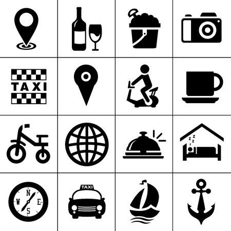 vector travel icons, vacation and tourism icons, hotel sign and symbols