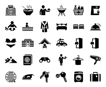 vector travel icons, vacation and tourism icons, hotel sign and symbols Zdjęcie Seryjne - 127223718