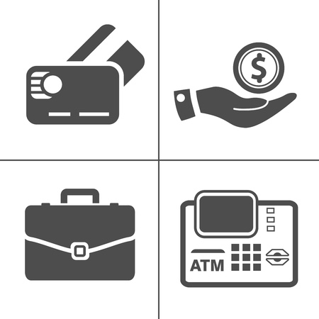 investment icons, business management icons, finance and strategy icons. money banking sign and symbols Çizim