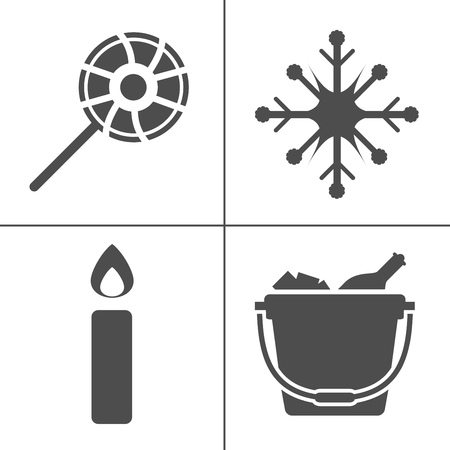 vector christmas icons set, winter celebration xmas holiday icons