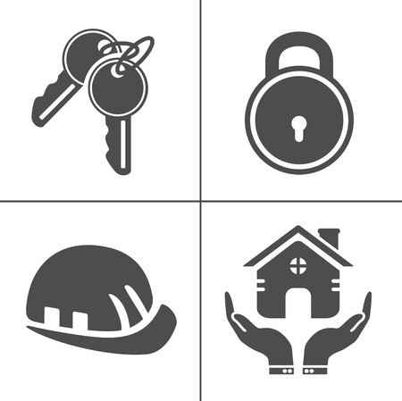 Security icons, vector protection and safety sign symbols, computer secure key sign - danger illustration