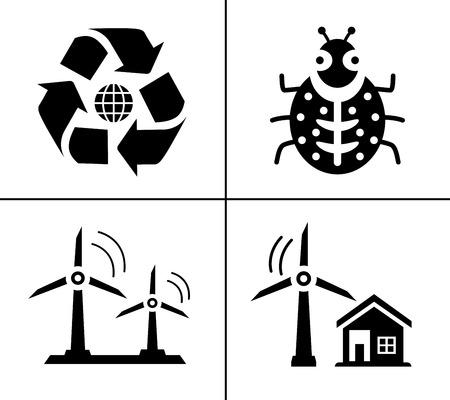 Energy And Ecology Icons, Nature icons set - environment ecology element - eco plant sign and symbols Vectores