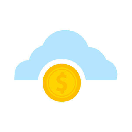 success Icon - coins with dollar sign falling from cloud, business income concept