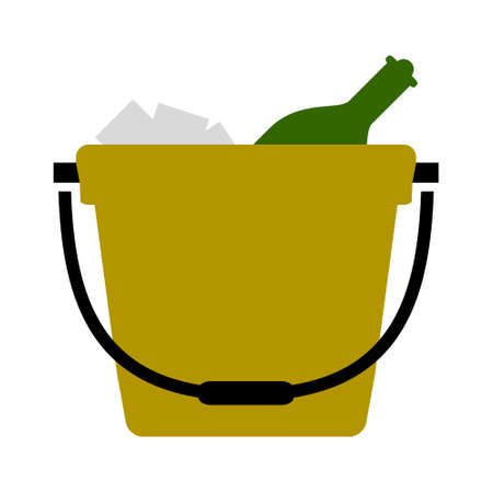 vector champagne bucket illustration, celebration icon - holiday party drink Stock Illustratie