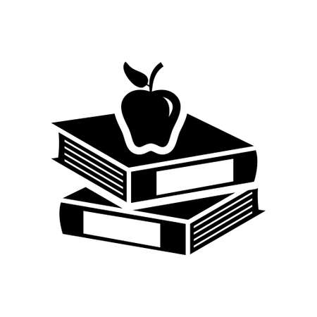 books with apple icon Stock Illustratie