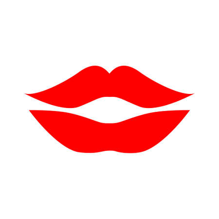 vector lips illustration - kiss icon, red lipstick - love icon. vector mouth