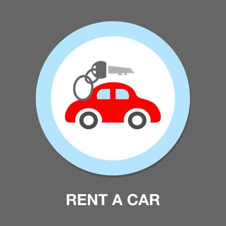 car rentals label, icon, emblem. Concept image for automobile repair service, spare parts store, rent a car