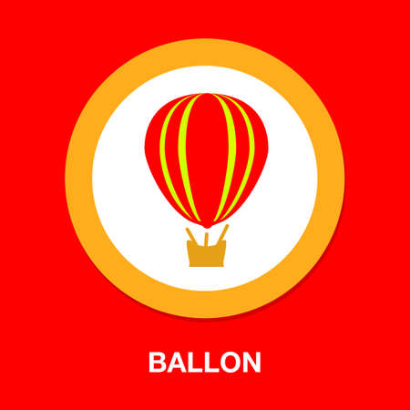 air balloon icon, ballooning adventure fly, travel leisure