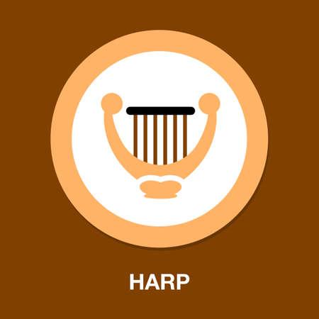 harp icon. music instrument symbol. sound musical harp 免版税图像 - 154969080