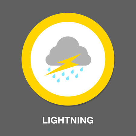 cloud and lightning icon. flat illustration of cloud and lightning icon for web 向量圖像