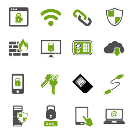 Information technology security icons. IT security Icons Vetores