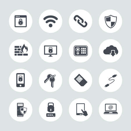 Information technology security icons. IT security Icons