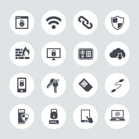Information technology security icons. IT security Icons Illusztráció