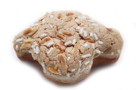 Sweet Easter cake named Easter Dove. Italian pastry on white background
