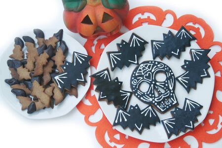 Halloween cookies in shape of a skull isolated on white background. Halloween sweet food Reklamní fotografie