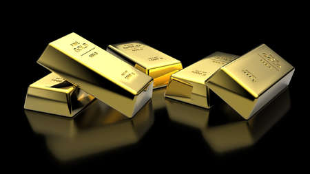 Banking finance concept background -Beautiful 3D illustration rendering gold bar on stacks of gold bullions